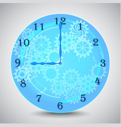 Blue mechanical clock with gears on grey vector