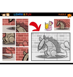 Cartoon rat puzzle game vector image vector image