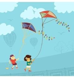 Children Playing Kite vector image