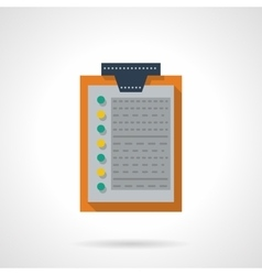 Flat color clipboard with document icon vector image vector image