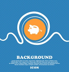 Piggy bank icon sign Blue and white abstract vector image