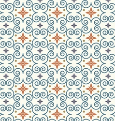 Retro Swirl and Flower Pattern on Pastel Color vector image vector image