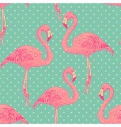 seamless flamingo bird pattern hand drawn vector image