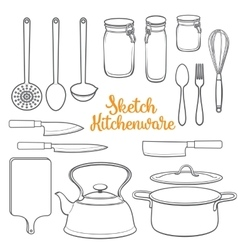 Set of isolated kitchenware and cutlery sketch vector image