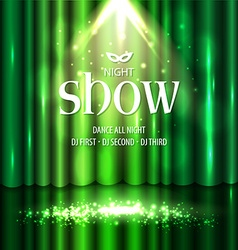Theatrical background with a green curtain and a vector image