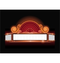 Brightly theater glowing retro cinema neon vector image