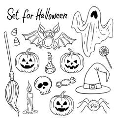 Halloween design elements Hand-drawn vector image