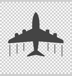 plane icon black flat on isolated background vector image
