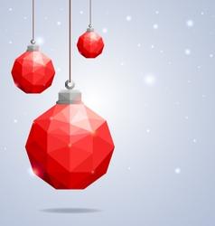 Polygonal red Christmas balls hanging on winter b vector image vector image