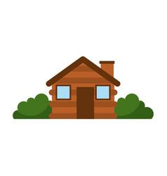 wooden cabin house chimney camp bush exterior vector image