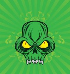 green-skull vector image