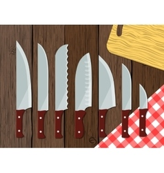 Set of knives on the table vector image