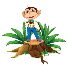A monkey standing above the wood vector image