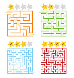 a set of square colored labyrinths with a rating vector image