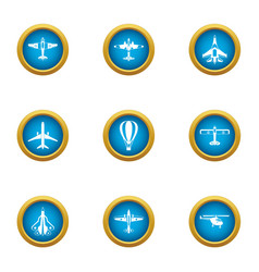 air flight icons set flat style vector image