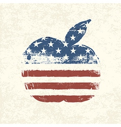 american flag apple shaped vector image