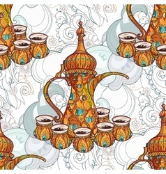 Arabic coffee maker dalla with cups vector image