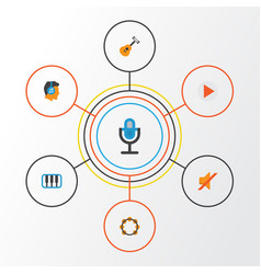 Audio flat icons set collection of rhythm vector