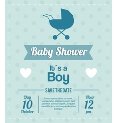 Baby Shower design stroller icon Blue vector image