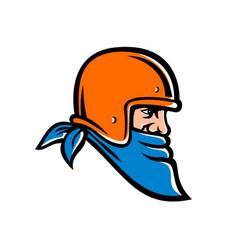 bandit biker wearing bandana and helmet mascot vector image