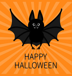 Bat happy halloween cute cartoon character with vector