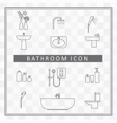 bathroom interior icon shower room elements vector image