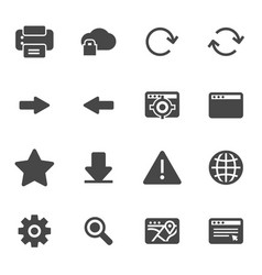 black browser icons set vector image