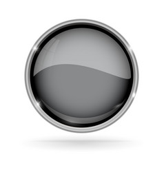 Black button with chrome frame round glass shiny vector