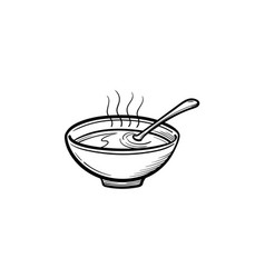 Bowl of hot soup hand drawn sketch icon vector