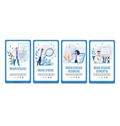 brain disease treatment mobile flat webpage set vector image