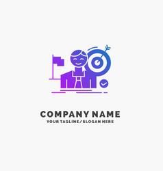 business goal hit market success purple business vector image