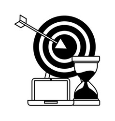 Business laptop hourglass and target vector