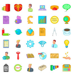 business marketing icons set cartoon style vector image