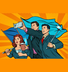 businessmen with smartphones and flags poster vector image
