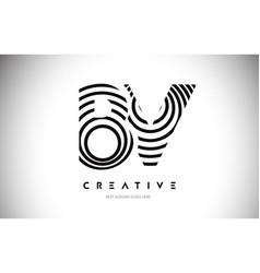Bv lines warp logo design letter icon made vector