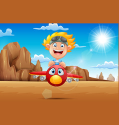 cartoon boy flying a plane in the desert vector image
