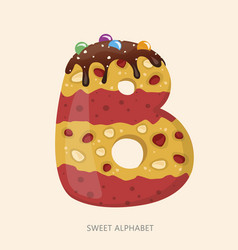 cartoon candy alphabet letter b vector image