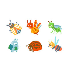 Cartoon insects with ladybug and grasshopper vector