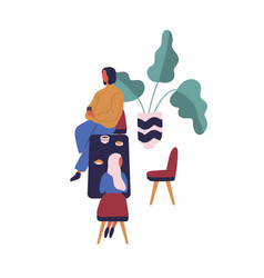 cartoon man and woman having lunch or dinner at vector image
