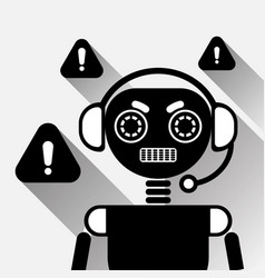 Chatbot error icon concept black chat bot or vector