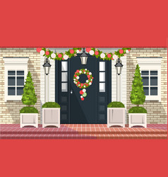 christmas decoration of entrance doors vector image