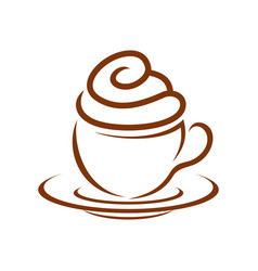 coffee cupcake whip cream breakfast symbol design vector image