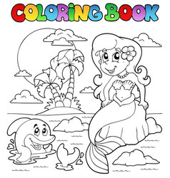 coloring book ocean and mermaid 1 vector image