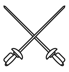 Crossed metal rapiers icon outline style vector