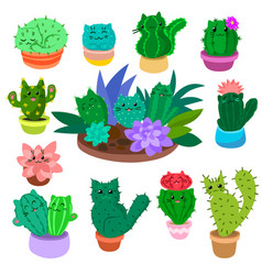 cute cartoon cactus and succulents set on hand vector image