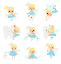 cute little tooth fairy with bateeth set vector image