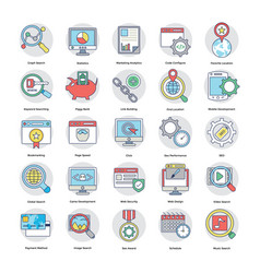 Digital and internet marketing flat icons set vector