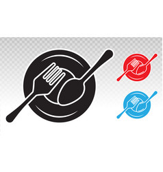Dining flat icon with plate and cutlery vector