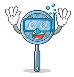 Diving skimmer utensil character cartoon vector