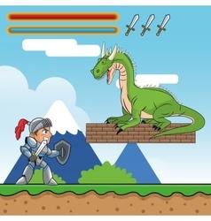Dragon warrior and videogame design vector image